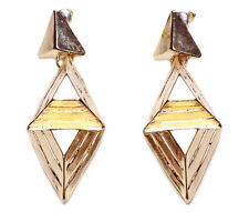 STRIKING GOLD CHUNKY GEOMETRIC PYRAMID EARRINGS, CONTEMPORARY DESIGN (NS4)