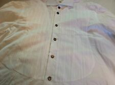 Authentic Kiton White Tuxedo Spread Collar French Cuff Dress Shirt Size 16.5
