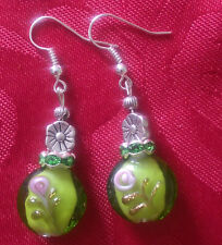 Lampwork drop dangle,silver plated earring oval green/pink flower(194)rhinestone