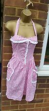Vintage 50's Look Country Pink & White Gingham Check Halterneck Dress SZ 10