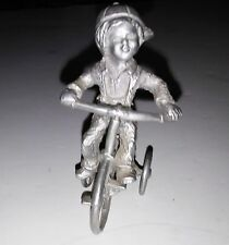 Pewter Young Boy Riding 3 Wheel Bike, Vintage 1976