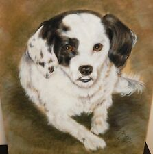 VINTAGE ORIGINAL PASTEL WHITE AND BLACK DOG PAINTING SIGNED AND DATED 1977