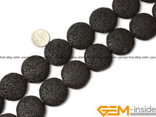 """Natural 27mm Volcanic Lava Rock Gemstone Coin Beads For Jewelry Making 15"""""""