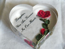 """Beautiful Art Acryllic Paperweight Clear Heart Flowers """"Daughter You Are Forever"""