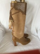 Shelly Tan Leather & Suede Feather Tassel Knee High Boots. Size 4 NEW