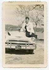 Pretty New Jersey Girl Removes Shoes Sits on Chevrolet Car Vintage 1952 Photo