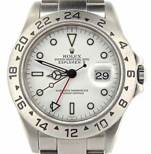 "Rolex Stainless Steel Explorer II Date Watch SEL ""No Holes"" 40mm White 16570T"