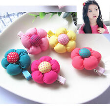 US 5 Pcs Cute Flower Hair Clips Kids Candy Color Hairpins For Baby Kids Girls TS