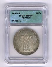 FRANCE  1873-A  5 FRANCS SILVER COIN, CHOICE UNCIRCULATED, ICG CERTIFIED MS-64