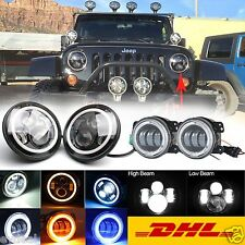 "2x 7"" CREE LED Headlight Projector Halo DRL + 2x 4"" Fog Lamps for Jeep Wrangler"