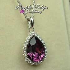 18CT White Gold Plated Amethyst Waterdrop Necklace W/ Genuine Swarovski Crystal