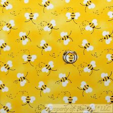 BonEful Fabric FQ Cotton Quilt Yellow White Black B&W Honey Bumble Bee Stripe US