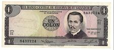 El Salvador 1 Colon Note 1967 El Salvador Un Colon 1967 El Salvador Banknote