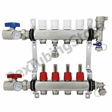"4-Branch PEX Radiant Floor Heating Manifold Set - Stainless Steel, for 1/2"" PEX"