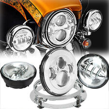 """7"""" LED Daymaker Headlight Passing Lights Mount Ring Fit Harley Road King Classic"""