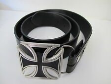 IRON CROSS PEWTER BELT BUCKLE WITH SIZE 36 BLACK BELT