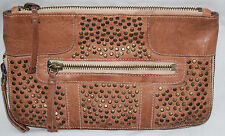 RARE Olivia Harris Leather Studded Clutch by Joyce Gryson Tan*Missing Strap GUC
