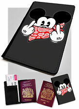 Mickey Mouse Fingers Printed Faux Leather Passport Holder Cover Case Rude Funny