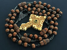 † RARE ANTIQUE CARVED WOOD BEADS ROSARY W/ STANHOPE BONE CROSS CRUCIFIX VIEWER †