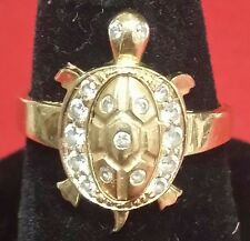 Vintage 14k Gold  Light Weight Small Turtle  Ring With Accents Quartz Size 5.5