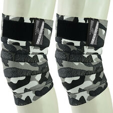 KNEE WRAPS WEIGHT LIFTING HEAVY GYM TRAINING ELASTICATED KNEE BANDAGE CAMO GREY