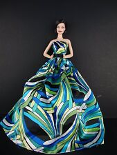 Set of 2 Pucci Inspired Ball Gowns in Pink and Blue Made to Fit Barbie Doll