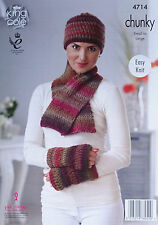 KNITTING PATTERN Ladies Easy Knit Hat Scarf & Mitts Chunky King Cole 4714