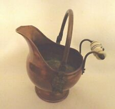 BRASS PLANTER - PITCHER WITH LION DECOR AND CERAMIC KNOB ON BACK HANDLE