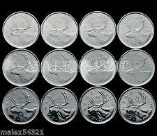 2006 TO 2016 COMPL. CARIBOU 25 CENTS SET UNC (12 COINS) FREE $HIPPING IN CANADA