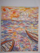 Peinture Tableau huile sur toile Venise 46cm/38cm Picard art oil painting
