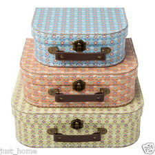 3 Summer Retro Suitcases Storage Boxes Box Bedroom Wedding Shabby Chic Suitcase