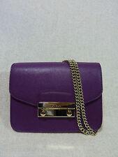 NWT FURLA Aubergine Purple Saffiano Leather Mini Julia Chain Xbody Bag $328