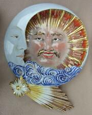 ANTIQUE ART DECO FRENCH CERAMIC FAIENCE WALL PLAQUE CELESTIAL SUN & MOON CHINESE