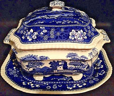 3 Piece SPODE Tower England C1814 Gadroon Soup Tureen And Platter Blue and White