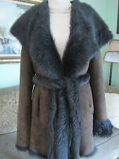 TRYST New York Brown Genuine Shearling Winter Coat Jacket Size M