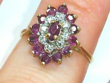 9k Gold 9ct gold Vintage Ruby & Diamond marquise cluster ring size K