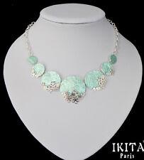 Luxus Statement Kette IKITA Paris Halskette Emaille Versilbert Filigran Blumen