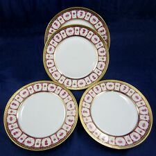 "HAVILAND & PARLON 4 Piece Lot ROSE D'OR Golden Roses 10"" DINNER PLATES Dishes"