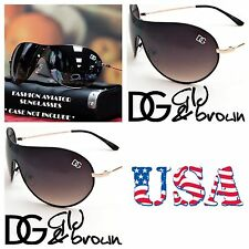 Men Women DG Eyewear Retro Bike Cycling Shield Sport Sunglasses UV Aviator BROWN