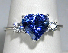 Heart Tanzanite Ring Solitaire Diamond 14K White gold CERTIFIED NATURAL 2.10ct