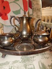 Antique English Poole Silverplate Tea Coffee Pot Service Oval Bar Pierced Tray