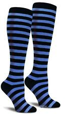 Blue and Black Striped Knee High Long Cotton Crazy Socks Cosplay Womens Derby