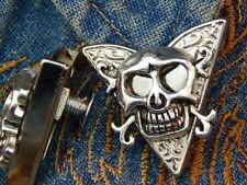 Nouveau halloween skull head collar tips en métal argenté, cow-boy western, goth
