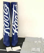 ANYA HINDMARCH ELECTRIC BLUE LEATHER BOOTS CHEMIST LOGO BOOTS MADE IN ITALY UK 5