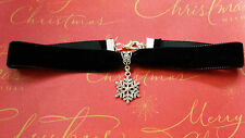 BLACK VELVET CHOKER necklace with silver snowflake pendant gothic goth