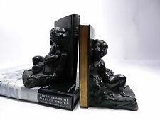 Antique Art Deco Ronson Metal Wares Child Figurine butterfly Wing Bookends vtg