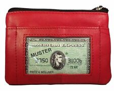 Womens Genuine Leather Coin Purse Change Wallet Zipper Close Ladies Red