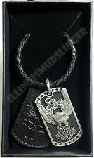 Men's Harley-Davidson Everlast Upwing Eagle B&S Banner Dog Tag Pendant Necklace