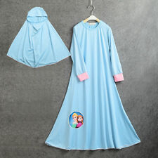 Muslim Kids Girls Kaftan Abaya Hijab Islamic Prayer Anna Elsa Maxi Dresses 5-6Y