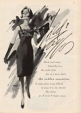 1964 Lord & Taylor Fashion Larry Aldrich Black Wool Crepe & Chantilly PRINT AD